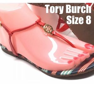 Tory Burch Emmy Habanero PepperStripe Ankle TStrap